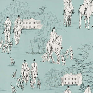 Horse hunt Wallpaper equestrian hounds toile blue