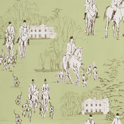 Green Horse Equestrian Toile Wallpaper