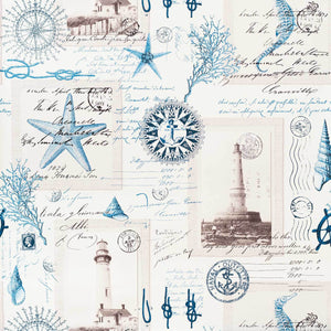Nautical lighthouse Wallpaper vintage postcard French writing