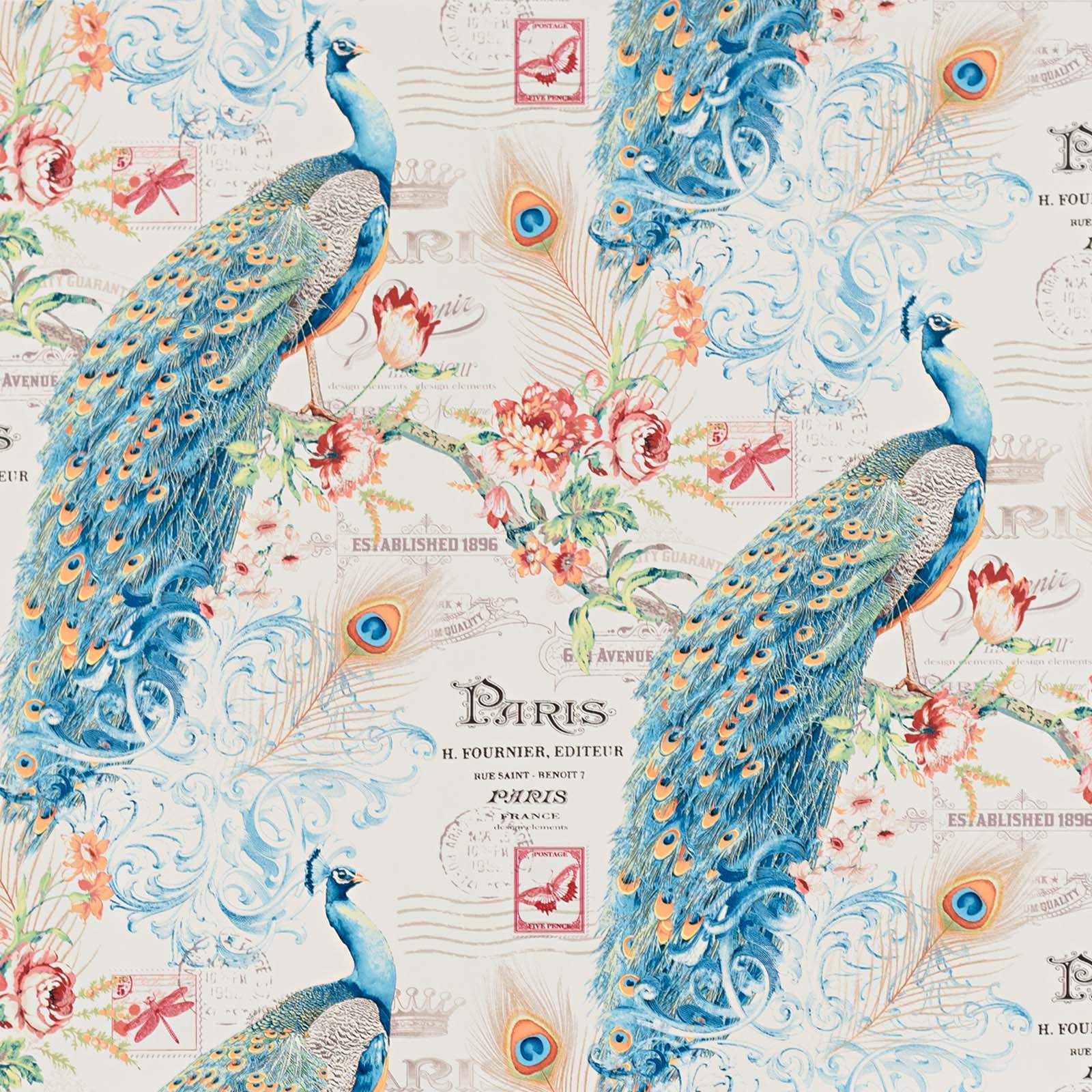 Peacock Wallpaper Paris French letter butterfly stamp