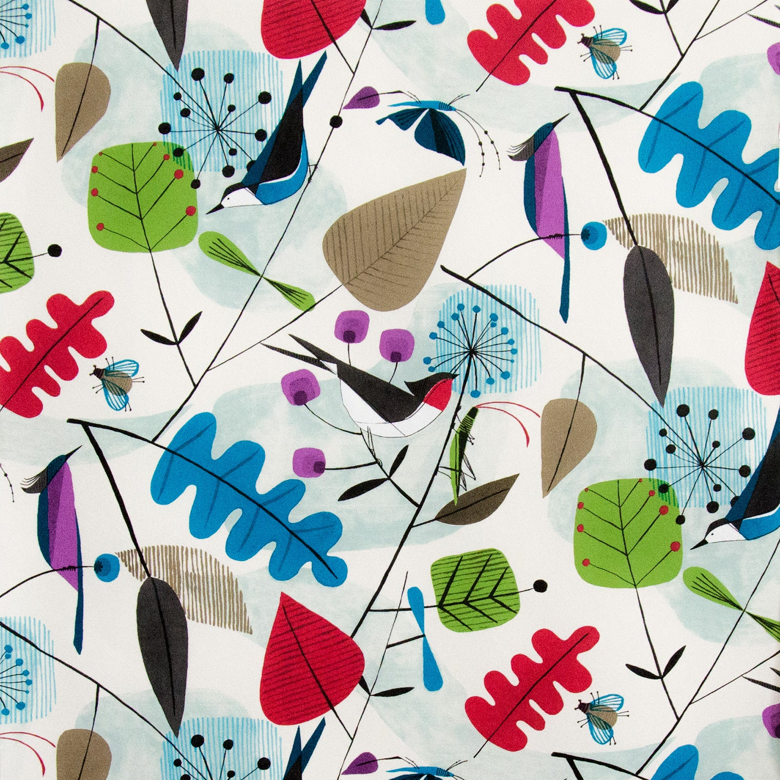 Scandinavian Wallpaper retro modern graphic bird leaves