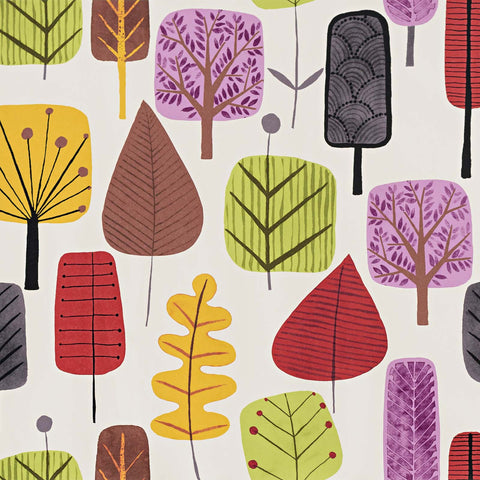 Retro Scandinavian wood Wallpaper tree leaf purple orange - Gloss Finish