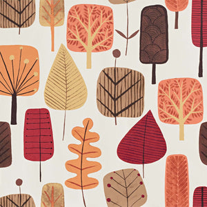 Retro Scandinavian wood Wallpaper tree leaf fall orange
