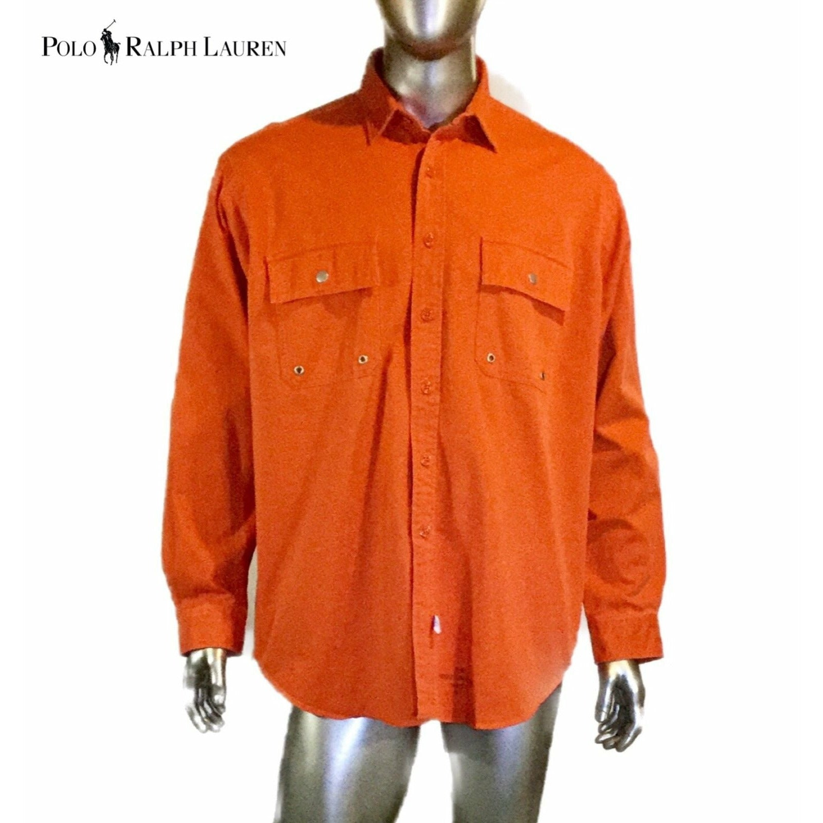 Vintage 90s Polo By Ralph Lauren Mens Orange,Usa Made Button-Front Shirt Size XL