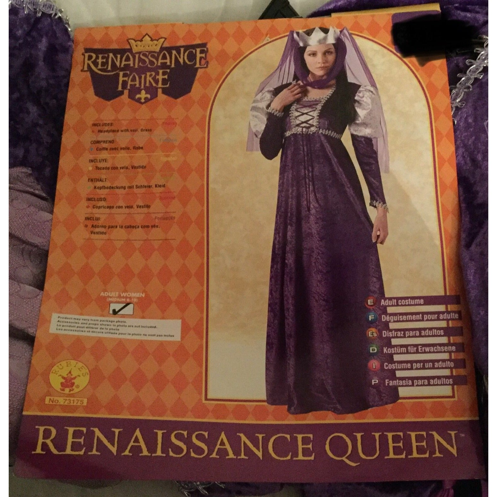 New Renaissance Faire Queen Costume, Womens Size 8-10, Purple