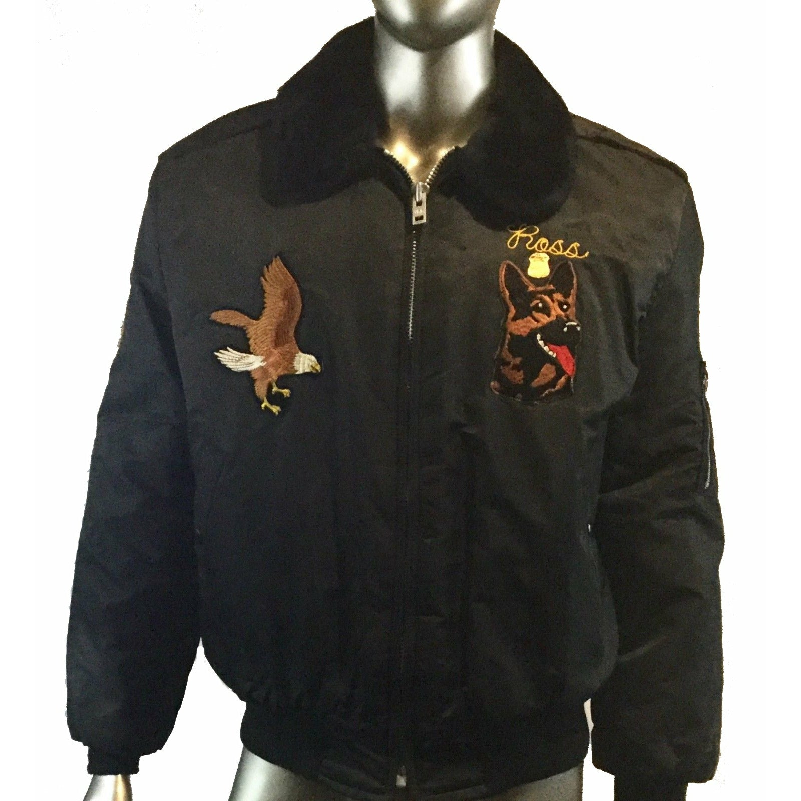 Vintage USAF Nylon Bomber Timber King Jacket. XL, Michigan, Eagle Patche, Dog