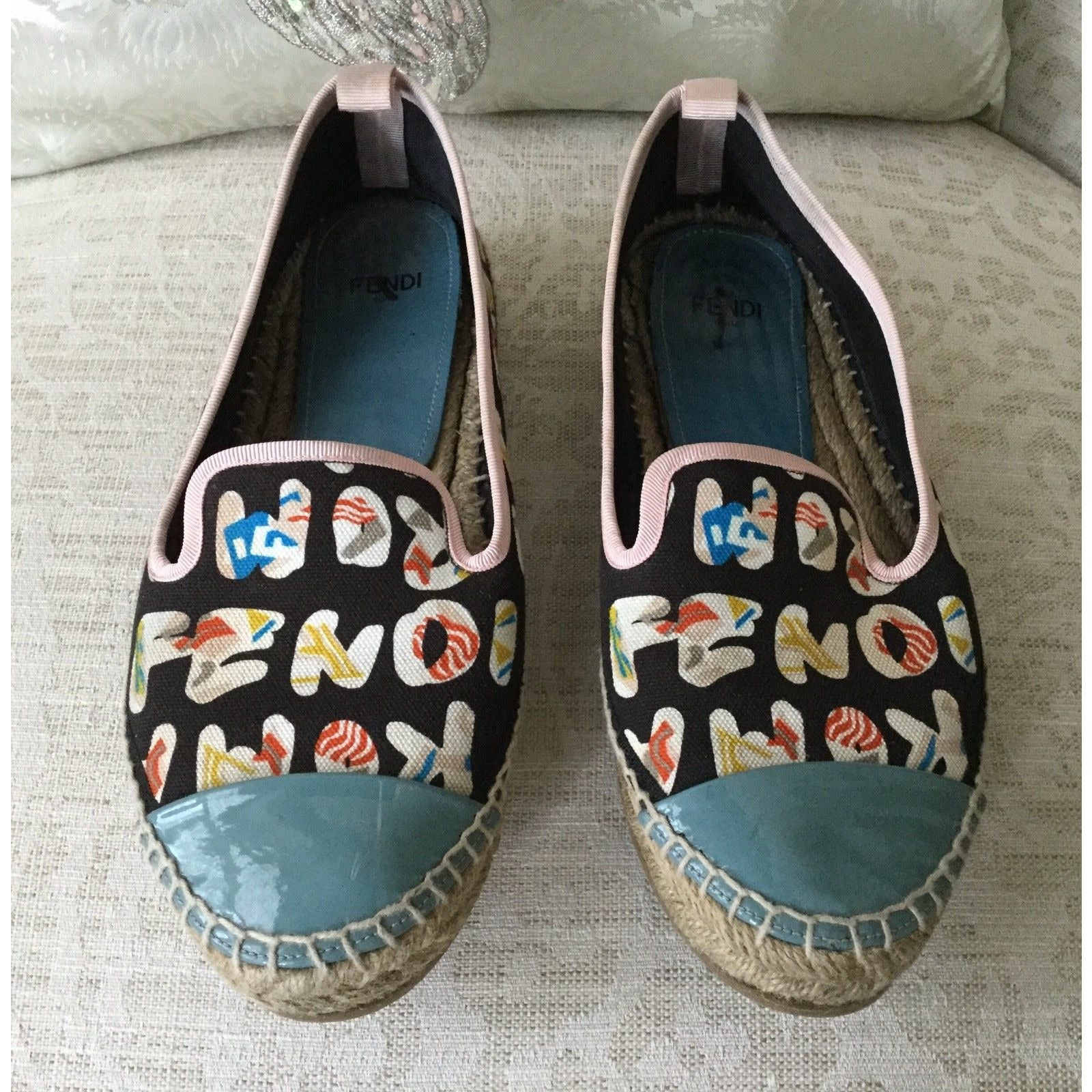 Pre-Owned FENDI Junia ROMA Logo Print Canvas Espadrille Flats Shoes Black 7.5