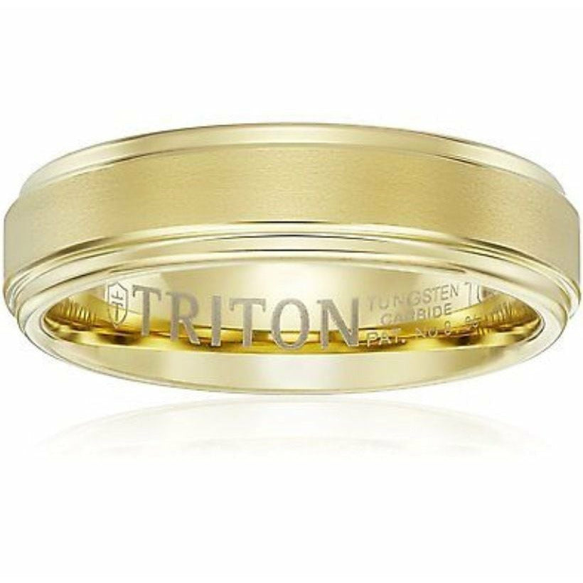 Triton Mens Yellow Tungsten 6mm Step Edge Comfort Fit Band, Size 11