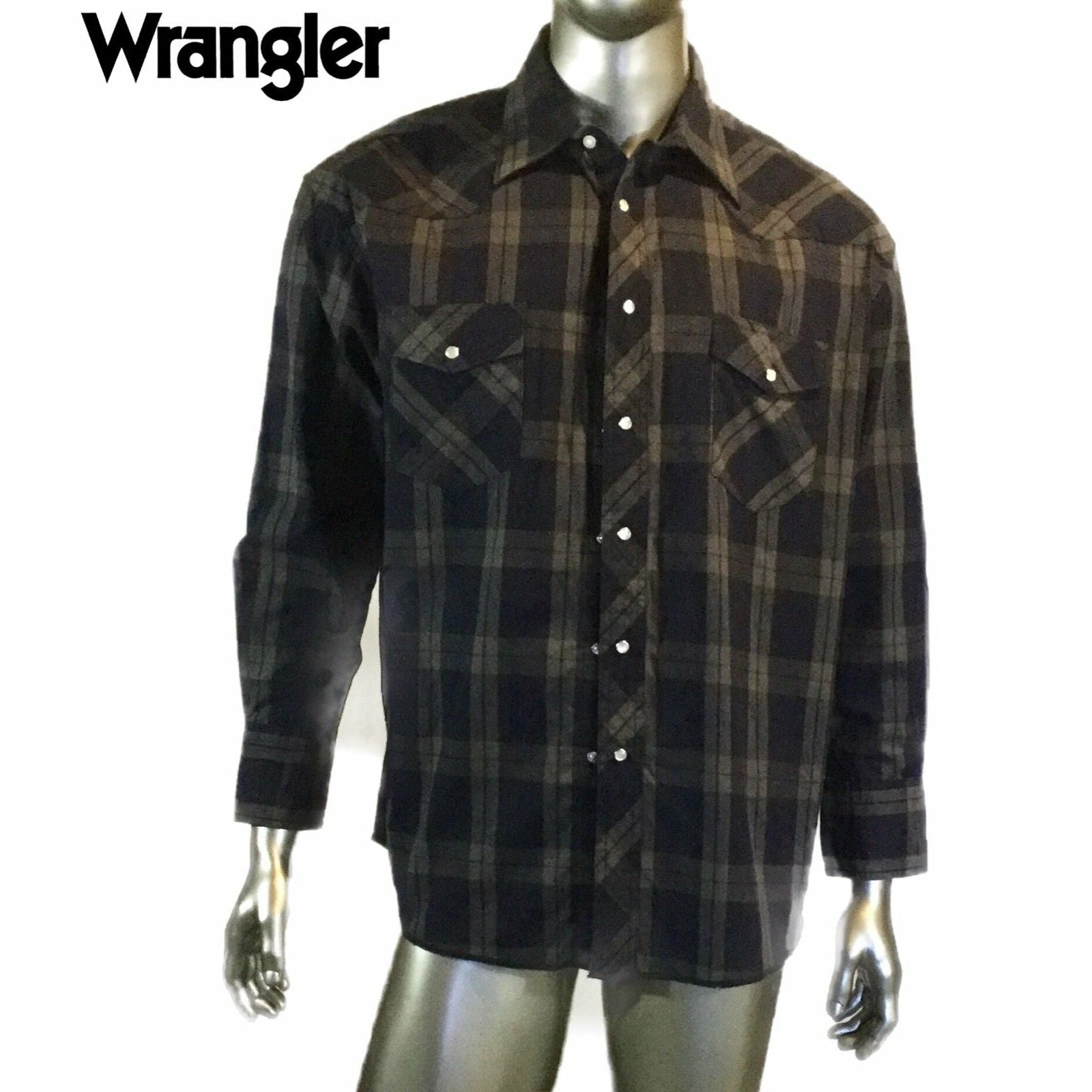 Vintage Men's Wrangler Pearl Button Plaid Western Shirt Size 17.5x34