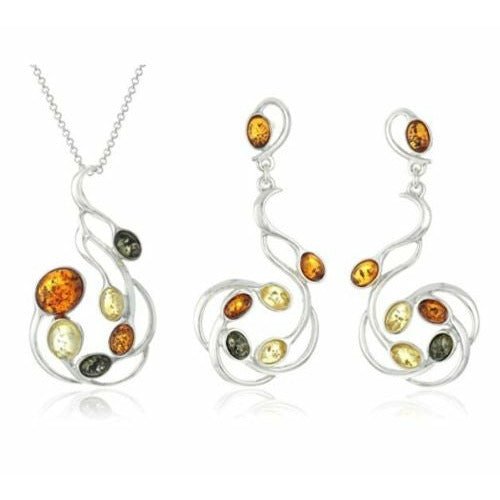 "NWT Multicolor Amber Sterling Silver Classic 18"" necklace, pendant & earrings"