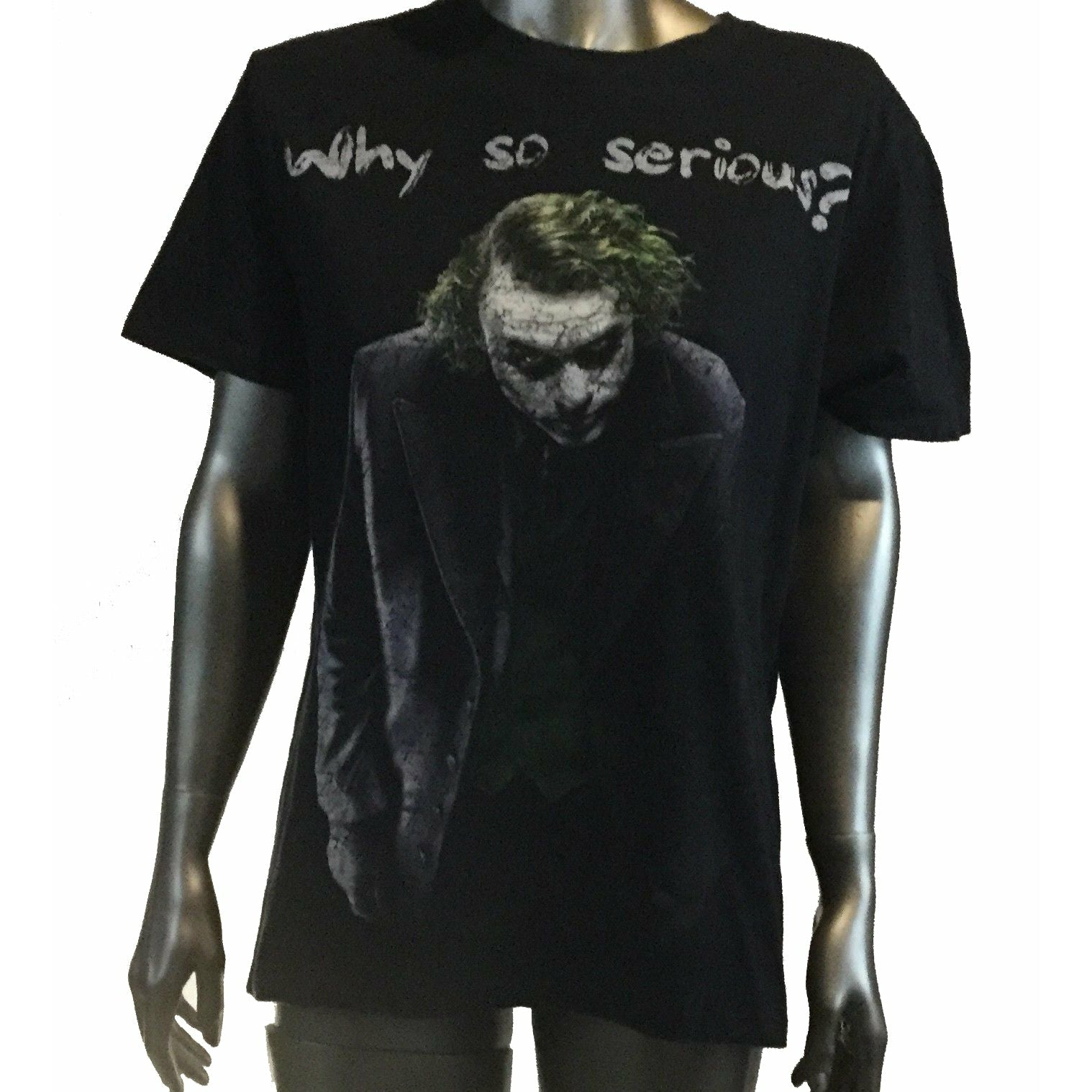 "Dark Knight Batman Heath Ledger Joker ""Why So Serious"" T-Shirt M"