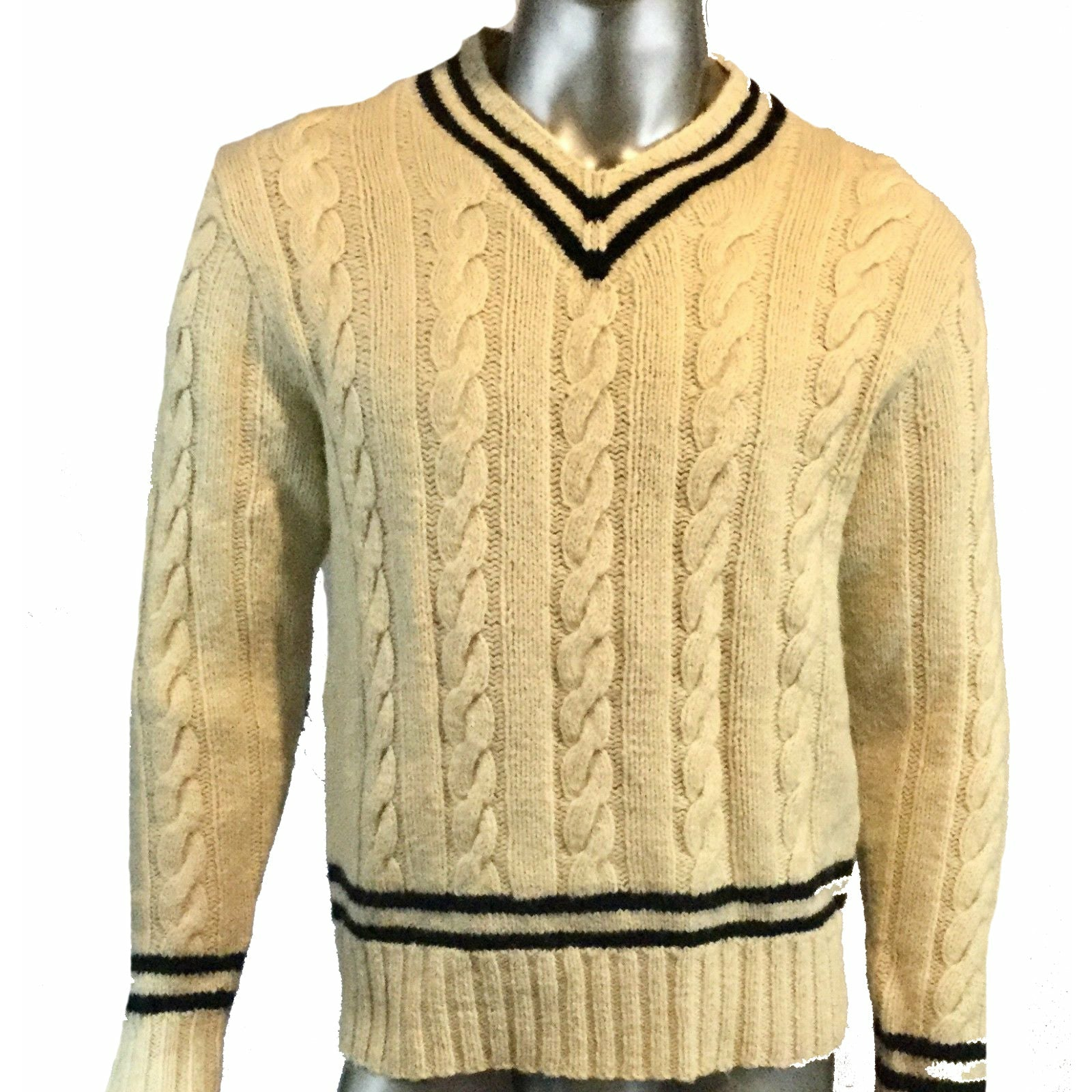 Polo Ralph Lauren Hand Knit Cabel Sweater XL Elbow Patches Wool V-Neck Vintage