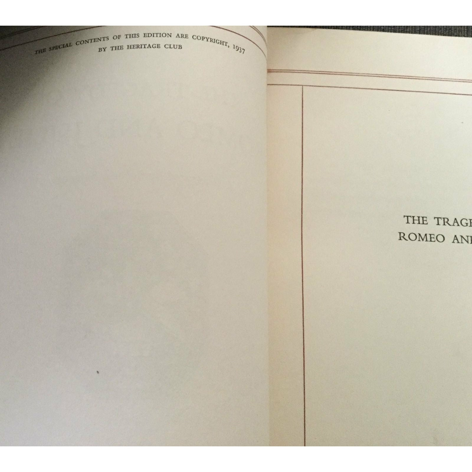 The Tragedy Of Romeo & Juliet, by Shakespeare - 1937 - Limited Edition H-C Book