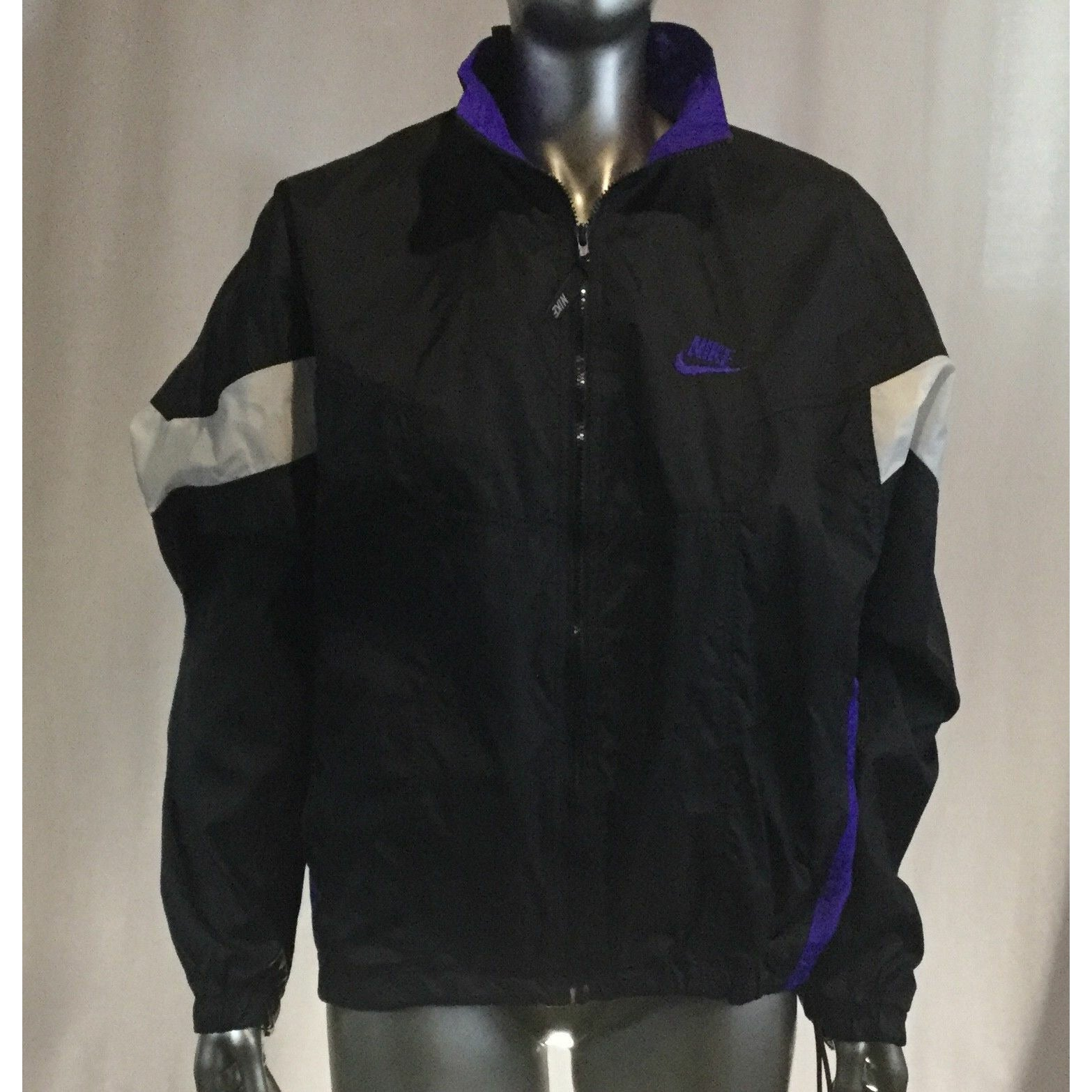Vintage Nike Full Zip Windbreaker Jacket Men's Sz M 90's Black, purple, white