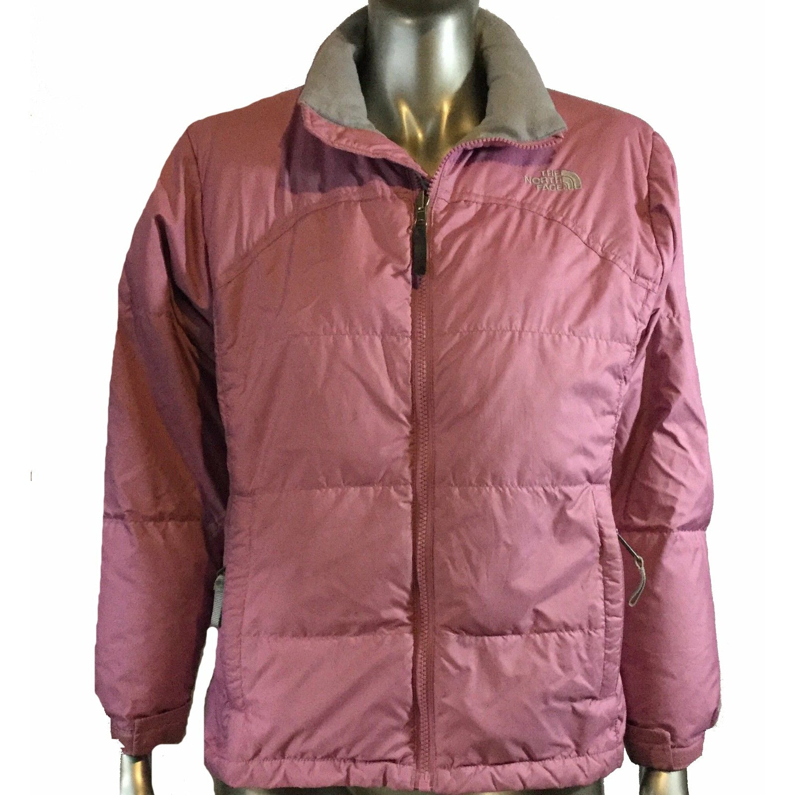 PINK The North Face 600 Girls Down Winter Ski Hooded Coat Jacket, SIze Large