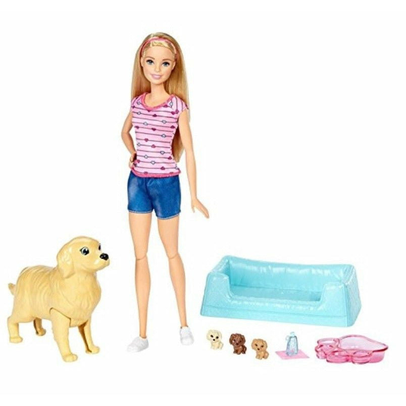 Barbie Newborn Pups Doll and Pets Playset with Puppy Dogs, Blonde NEW