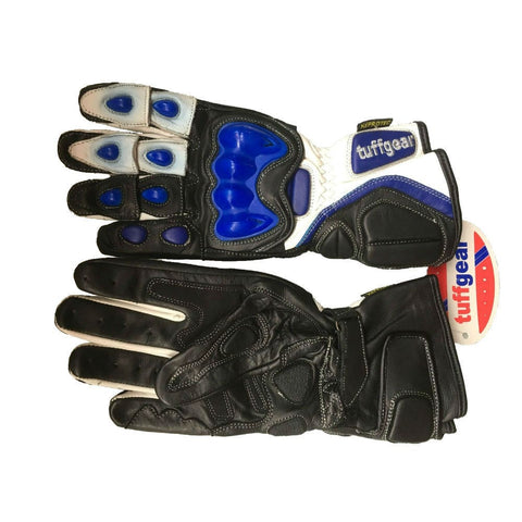 Tuffgear Motorbike/Motorcycle Leather Gloves - Blue