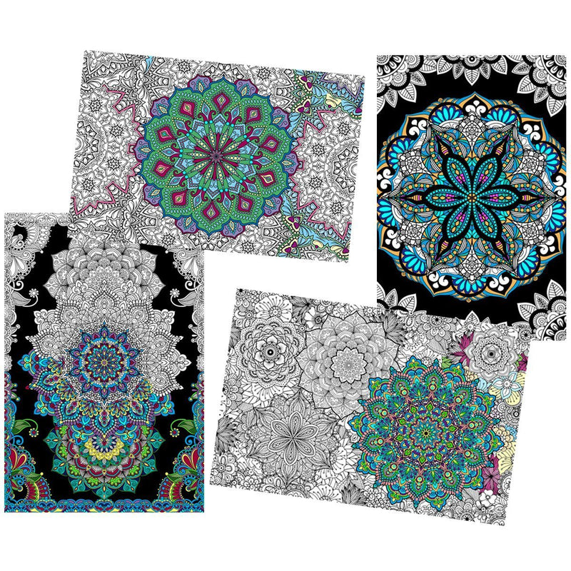 "Great2bColorful Coloring Posters - 4 Pack Sheet Set / 24"" x 16"" - Mandalas"