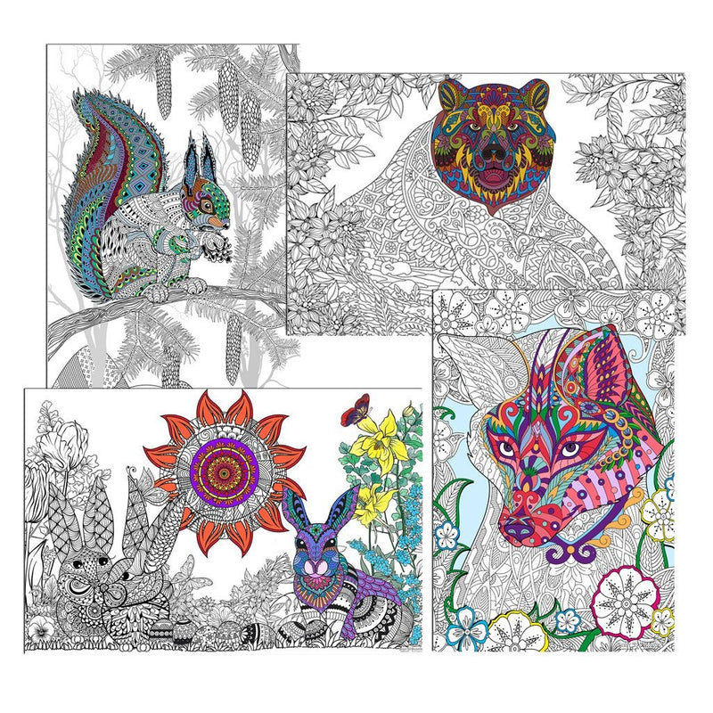 "Great2bColorful Coloring Posters - 16"" x 24"" 4 Pack Set - Walk In The Woods"