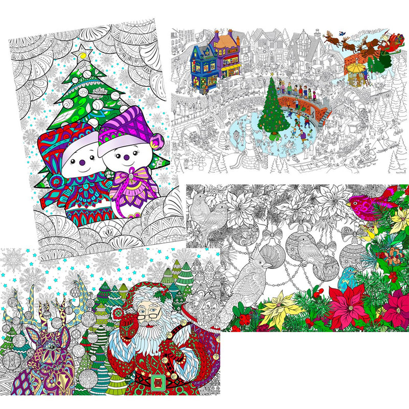 "Great2bColorful Coloring Posters 24"" x 16"" 4 Pack Set - Happy Holidays"