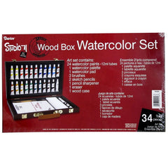 Studio 71  Wood Box Watercolor Painting Set - 34 Pieces
