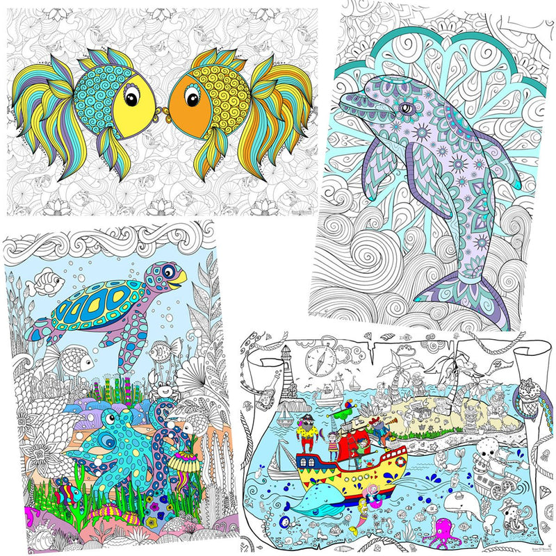 "Great2bColorful Coloring Posters 24"" x 16"" 4 Pack Set - By The Sea"