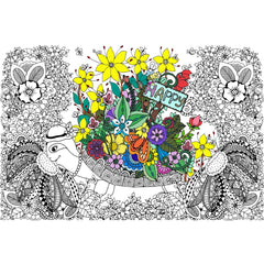 Great2bColorful Coloring Poster (3 Sizes~2 Paper Choices) - Doodle Art Turtles