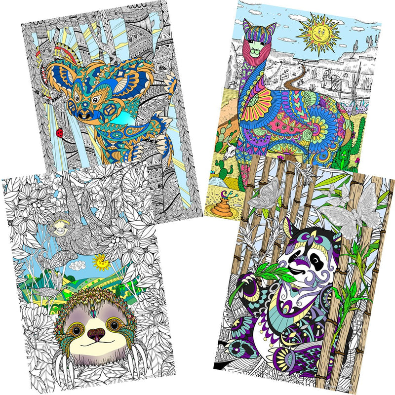 "Great2bColorful Coloring Posters 24"" x 16"" 4 Pack Set - Animals Around the World"