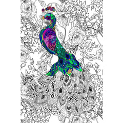 Great2bColorful Coloring Poster (3 Sizes~2 Paper Choices) - Polish Peacock