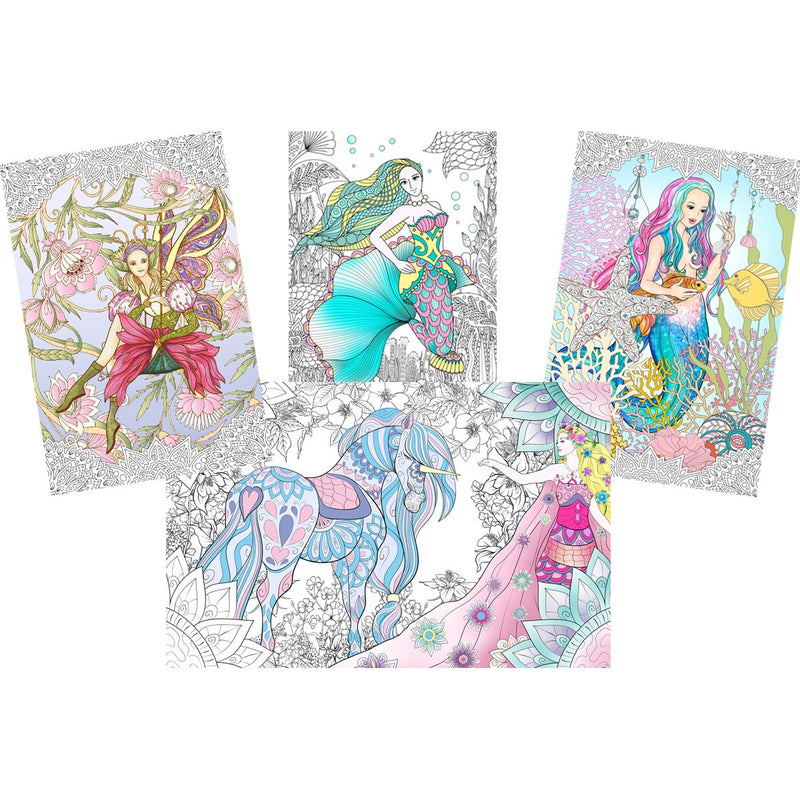 "Great2bColorful Coloring Posters 24"" x 16"" 4 Pack Set - Enchanted"