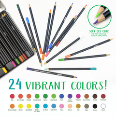 Crayola Signature Blend & Shade Soft Core Colored Pencils in Tin, Gift - 24 Count, Blend & Shade Colored Pencils
