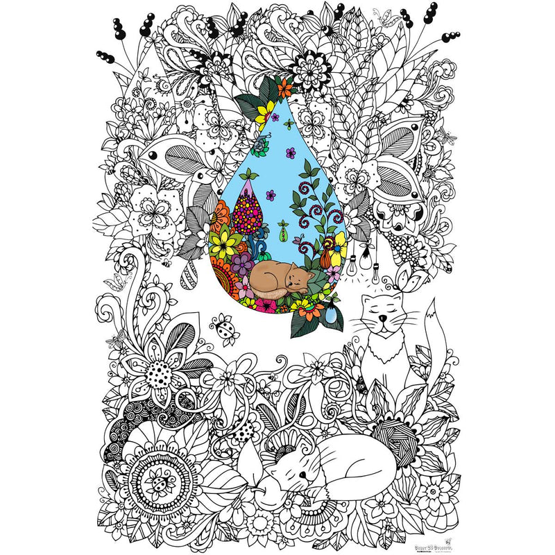 Great2bColorful Coloring Poster (3 Sizes~2 Paper Choices) - Doodle Art Cats