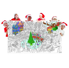 Great2bColorful Coloring Poster (3 Sizes~2 Paper Choices) - Merry Christmas Village