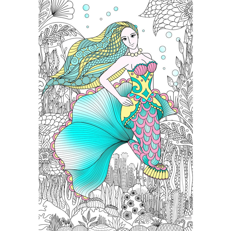 Great2bColorful Coloring Poster (3 Sizes~2 Paper Choices) - Lady Of The Sea