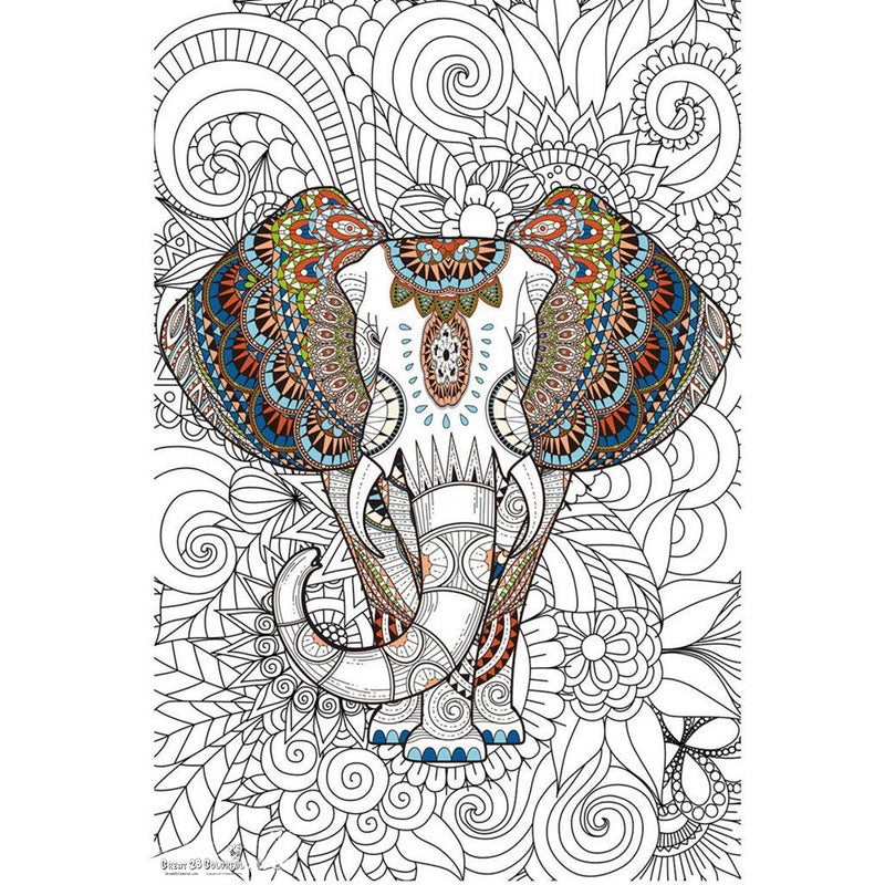 Great2bColorful Coloring Poster (3 Sizes~2 Paper Choices) - African Elephant