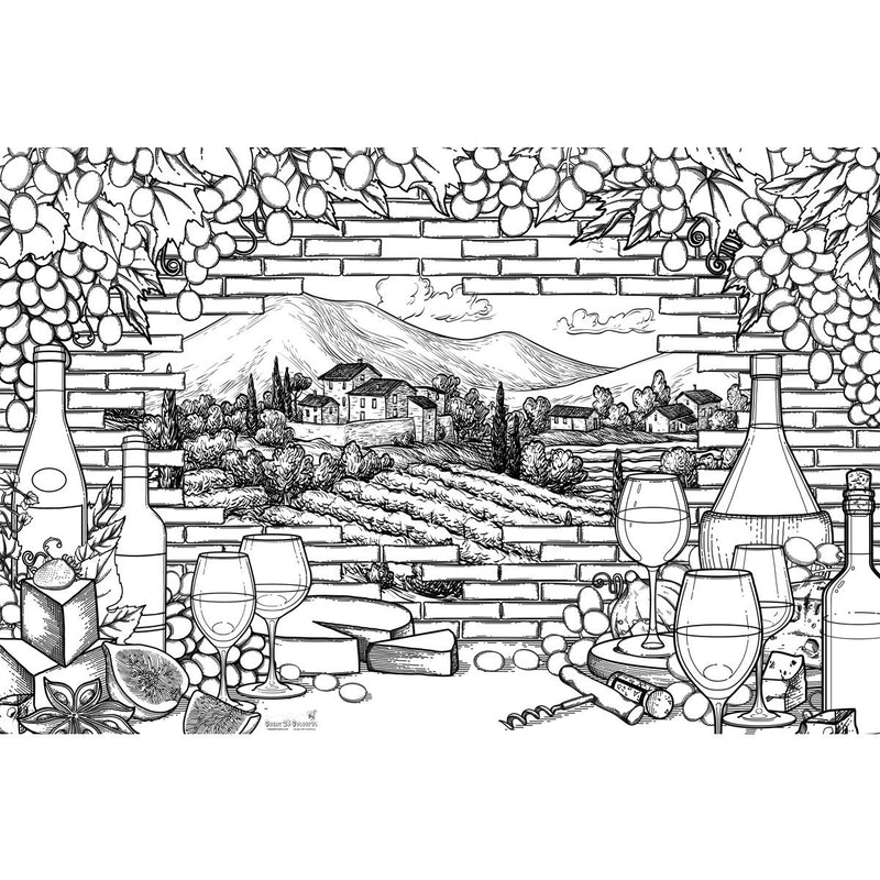 Great2bColorful Coloring Poster (3 Sizes~2 Paper Choices) - Wine Country