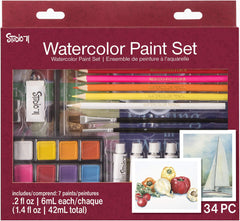 Studio 71 Getting Started Watercolor, 34 Piece Art Set, Assorted