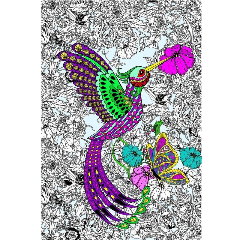 Great2bColorful Coloring Poster (3 Sizes~2 Paper Choices) - Hummingbird