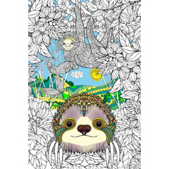 Great2bColorful Coloring Poster (3 Sizes~2 Paper Choices) - Pokie The Sloth