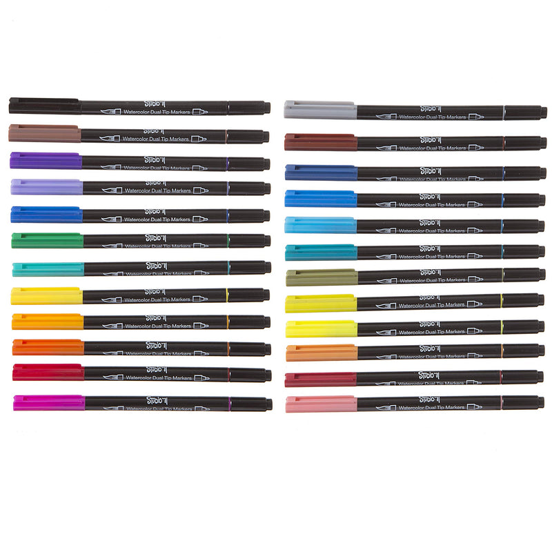 Studio 71 Watercolor, Dual Tip, 24 Pieces Markers, Assorted