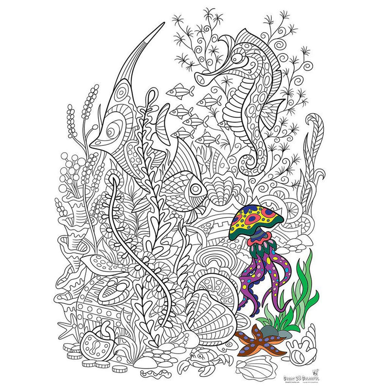 Great2bColorful Coloring Poster (3 Sizes~2 Paper Choices) - Under The Sea