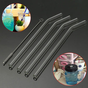 Drinking Straws, Bent Glass Set of 4 + brush