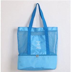 Combo Shopping Tote with Zippered Thermal compartment ~ Blue