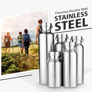 Water Bottle- Stainless Steel Double Wall Vacuum Insulated Travel Flask (500ml)
