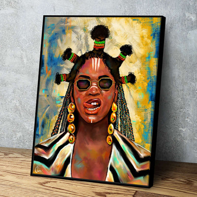 Beyoncé Black Is King Black Excellence Floating Frame Canvas Art Home Decor