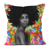 Floral Melanin Black Excellence Faux Suede Cushions