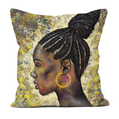 WRAPPED IN CORNROWS BLACK EXCELLENCE FAUX SUEDE CUSHIONS