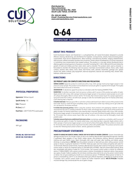 Q-64 Disinfectant Cleaner and Deodorizer-concentrate-Each Gallon Makes 64 Gallons of Surface Disinfectant!