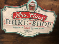 Metal Mrs claus bake shop sign  for Jen Lebrun