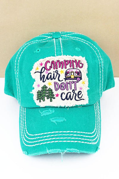 Camping Hair Don't Care Distressed Vintage Cap